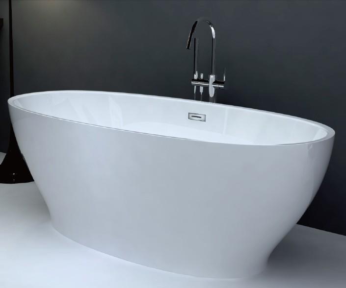 椭圆形薄边无缝对接一体式浴缸 1650x800x600mm