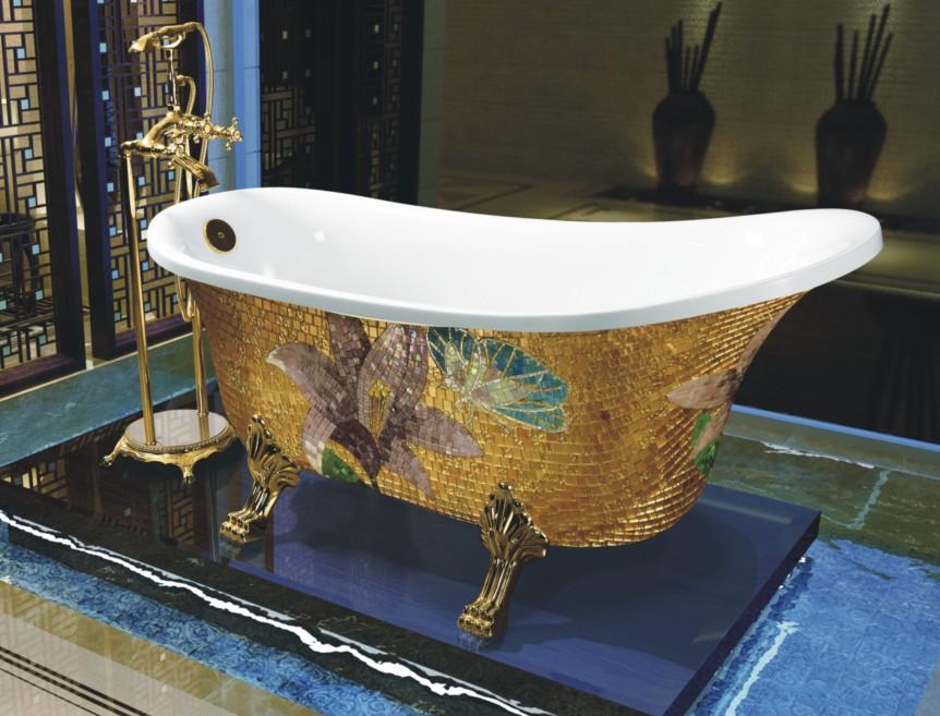mosaic clawfoot bath tub