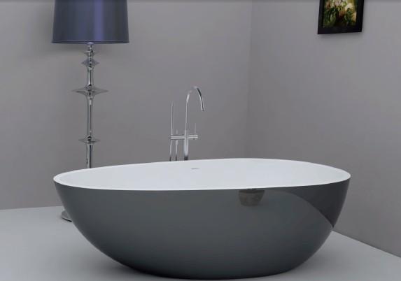 蛋形亚克力无缝对接浴缸 薄边现代浴缸 1700x850x580mm