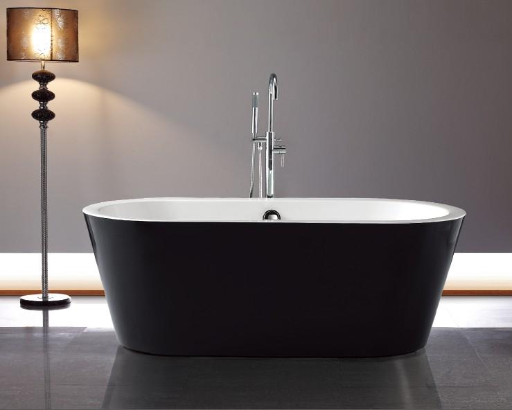 亚克力无缝对接一体式贵妃浴缸内白外黑现代浴缸 1700x800x600mm