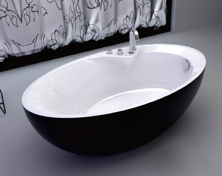 椭圆形亚克力无缝对接一体式浴缸 独立式 1600x850x600