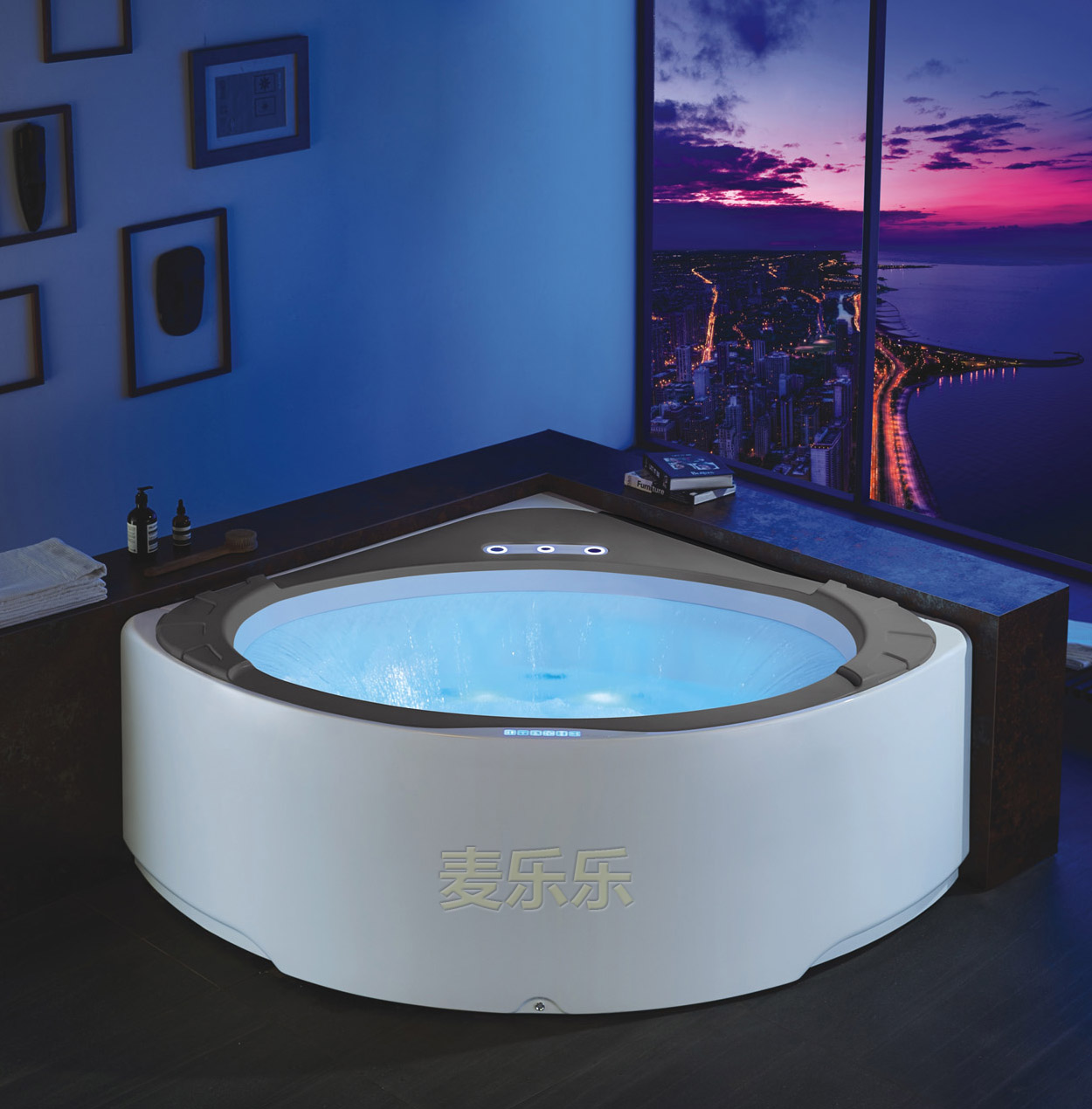 corner whirlpool jetted bathtub with waterfall - Foshan Luxe ...