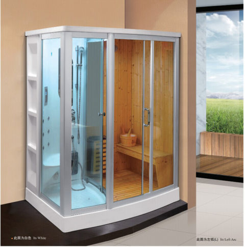 Traditional Finnish Sauna And Wet Steam Shower Combination 1800x1200mm Infrared Room Far Combo