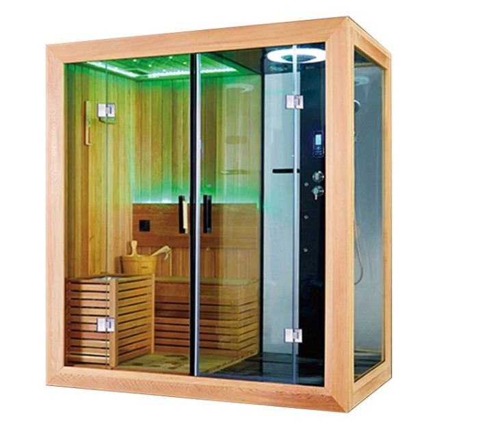 Dry Sauna And Wet Steam Shower Combination With Wood Frame
